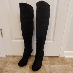 Guess Over the Knee Black Suede Boots 10M